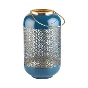 EMILIE fém lámpás kék 33cm