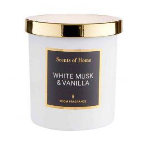 SCENTS OF HOME illatos gyertya üvegben – Fehér pézsma és Vanília